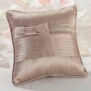 Taupe Bow Pleated Silk Pillow for Ring Bearers image