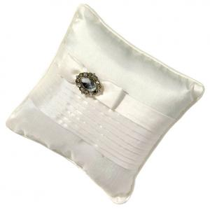White Pleated Ring Pillow with Rhinestones image