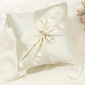 Ivory Sash Rhinestone Collection Ring Pillow image