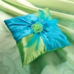 Vibrant Blue & Green Ring Pillow