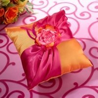 Hot Pink & Orange Ring Bearer Pillow