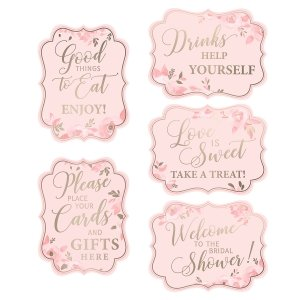 Set of 5 Pink and Gold Bridal Shower Signs image