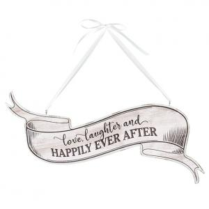 White Vintage Love- Laughter and Happily Ever After Sign image
