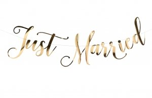 Gold Just Married Bunting image