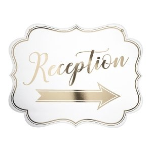 White & Gold Arrow Reception Sign image