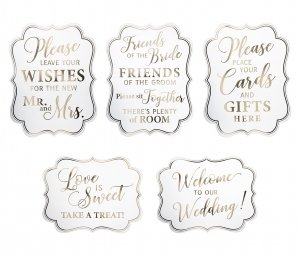 Set of 5 White & Gold Wedding Signs image