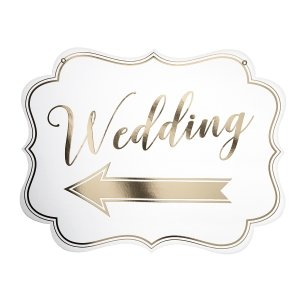 White & Gold Arrow Wedding Sign image