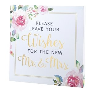 Watercolor Wedding Wishes Sign image