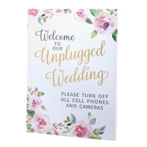 Watercolor Unplugged Wedding Sign image