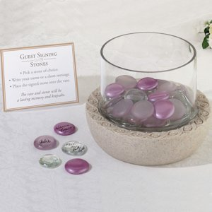 Glass Signing Stones Vase (Wedding Guest Book Alternative) image