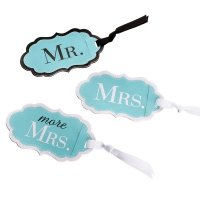 Mr Mrs & More Mrs Aqua Luggage Tags