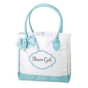 Aqua and White Flower Girl Tote Bag image