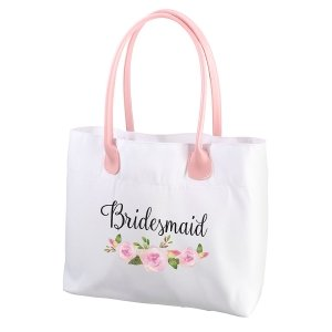 Watercolor Floral Wedding Party Tote Bag (3 Styles) image