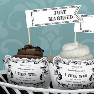 Just Married Cupcake Picks (Set of 12) image