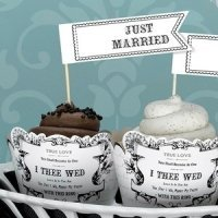 Just Married Cupcake Picks (Set of 12)