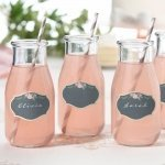 Shabby Chic Black and Pink Drink Clings (Set of 24)
