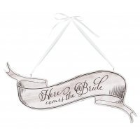 Here Comes the Bride White Banner Sign