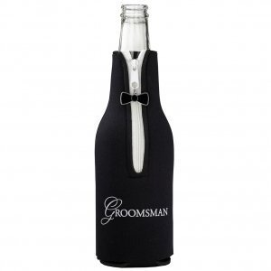 Groom's Wedding Party Black Bottle CozyGroomsman Bottle Cozy image