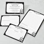 Black and White Bridal Shower Recipe Cards (Set of 24)