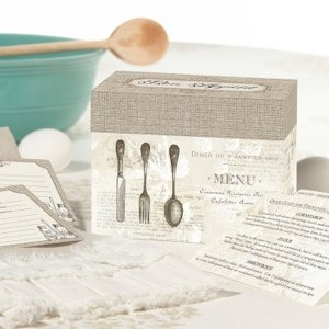 Bon Appetit Tan Bridal Shower Recipe Card Box image
