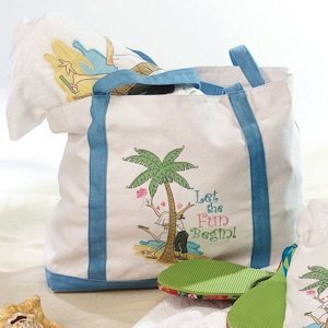 Flip Flop Love Theme Canvas Beach Bag image