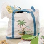 Flip Flop Love Theme Canvas Beach Bag