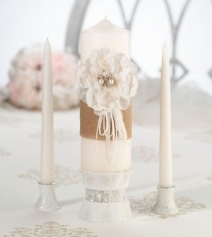Burlap and Lace Unity Candle Set image