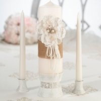 Burlap and Lace Unity Candle Set