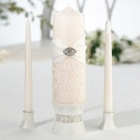 Cream Vintage Lace Unity Candle Set