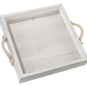 Square Wood Wedding Tray with Rope Handles image