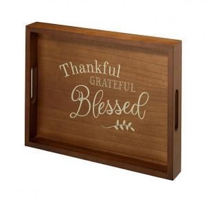 Decorative Wooden Tray with Thankful- Grateful- Blessed Vers image