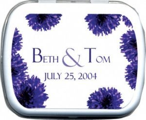 Filled Personalized Purple Flower Mint Tin image