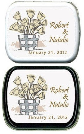 Filled Flower Pot Personalized Mint Tins image