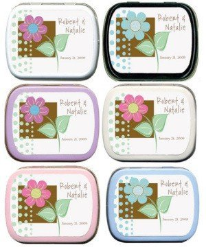 Filled Pastel Flower with Color Block Personalized Mint Tin image