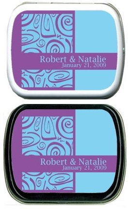 Filled Purple and Blue Swirl Personalized Mint Tins image