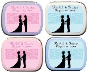 Filled Bride and Groom Silhouette Personalized Mint Tins image
