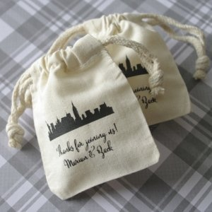 Cityscape Silhouette Personalized Small Muslin Bag image