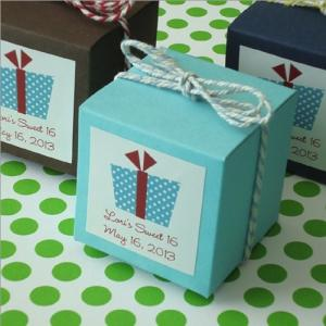 Party Theme Cube Favor Box with Label and Twine image
