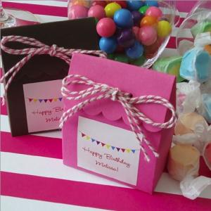 Party Theme Scalloped Favor Box with Label and Twine image