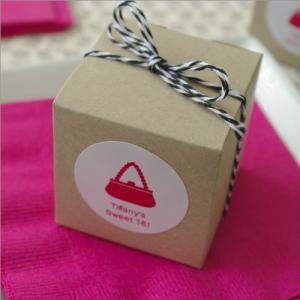Party Theme Personalized Kraft Cube Favor with Twine image