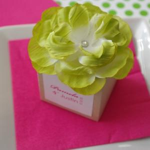 Monogram Kraft Flower Top Favor Box with Vintage Rose image