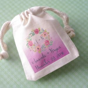 Monogram Floral Wreath Personalized Small Muslin Bag image