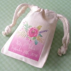 Floral Bouquet Personalized Small Muslin Bag image