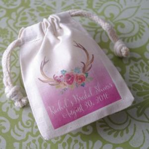 Floral Bouquet Antlers Personalized Small Muslin Bag image