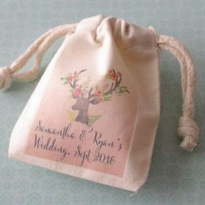 Deer Floral Bouquet Personalized Small Muslin Bag image