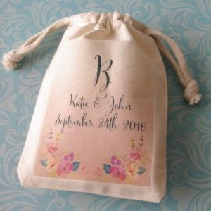 Monogram Corner Bouquets Personalized Large Muslin Bag image