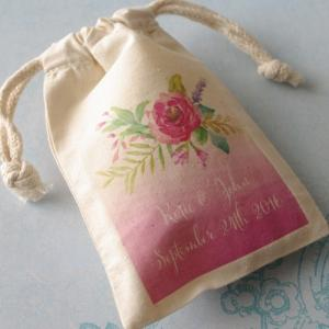 Floral Bouquet Personalized Large Muslin Bag image
