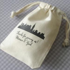Cityscape Silhouette Personalized Large Muslin Bag image