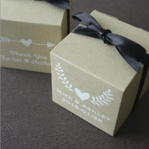 Rustic Emblems Personalized Kraft Cube Favor Box image