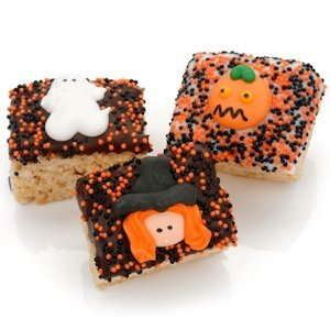 Halloween Chocolate Dipped Mini Rice Krispie Bars image